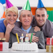 Happy family celebrating birthday together — Stock Photo