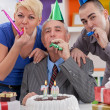 Happy family on birthday — Stock Photo