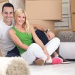 Adorable couple sitting in new home — Stock Photo