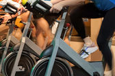 Spinning in the gym — Stock Photo