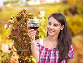 Frau mit Glas Wein im Weinberg. — Stockfoto
