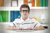 Little hacker with binary code — Stock Photo