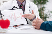 Cardiologist showing EKG results — Stock Photo