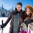 Couple on ski holiday — Stock Photo