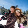 Happy couple on ski — Stock Photo #35604061
