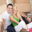 Lovely couple moving — Stock Photo