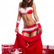 Sexy Santa woman as Christmas gift — Stock Photo #36031261