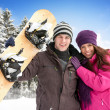Adorable couple enjoying in wintertime — Stock Photo