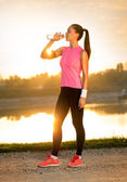 Jogger drinking water — Photo