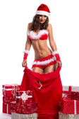 Sexy Santa woman as Christmas gift — ストック写真