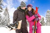 Couple on ski holiday — Stock Photo