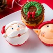 Three Christmas cupcakes — Stock Photo