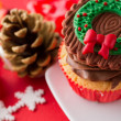 Choco Christmas cupcake — Stock Photo