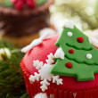 Cupcake with Christmas tree — Stock Photo