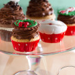 Decorative Christmas cupcake — Stock Photo