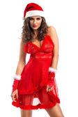 Seductive woman in Santa costume — Stock Photo