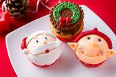 Tre christmas cupcakes — Stockfoto