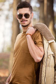 Great looking male model outdoor — Stock Photo
