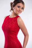 Woman wearing red dress — Stock Photo