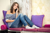 Teenager and phone — Stock Photo