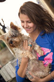 Teenager with dog — Stock Photo