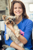 Teenage girl  with her l dog — Stock Photo