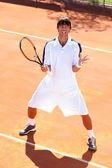Upset tennis player — Stock Photo