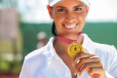 Winner female tennis — Stock Photo