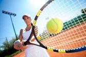 Playing tennis — Stock Photo