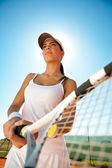 Female tennis player outdoor — Stock Photo