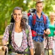 Three friends hiking — Stock Photo #44167247