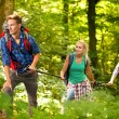 Three friends hiking through the forest — Stock Photo