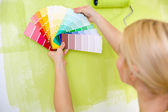 Woman with scale of paint swatches — Stok fotoğraf