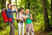 Grupo de excursionistas con mapa y binoculares — Foto de Stock