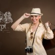 Beautiful woman tourist with draw pyramids and Great Sphinx — Stock Photo #47494339