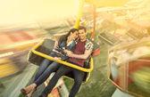 Happiness couple riding on ferris wheel — Stock Photo