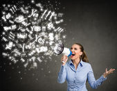 Yes - Businesswoman with megaphone — Stock Photo