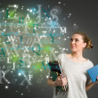 Young female student with clouds of bright formulas, numbers, le — Stock Photo #48049693