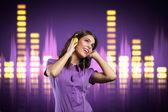 Happy girl with headphone listening to music — Stock Photo