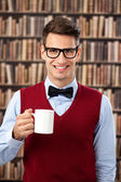 Old-fashion man with coffee — Stock Photo