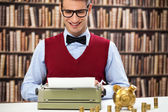 Accountant with typewriter — Stock Photo