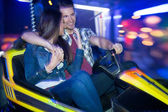 Couple in a bumper car — Stock Photo
