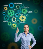 Businesswoman  with  draw a gear system — Stock Photo
