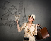 Tourist travel around the world — Stockfoto