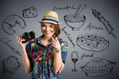 Food photographer - Nice female tourist with draw different type — Stock Photo