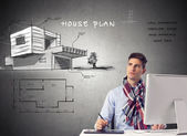 Architect house planing -design — Stock Photo