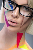 Portrait of beautiful sensual  stylish mode in glasses — Stock Photo