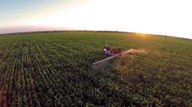 AERIAL: Flight over the mashine watering the corn  field in sunset — Stock Video