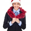 Business woman in christmas hat — Stock Photo #7479750