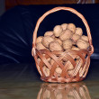 Walnuts in basket — Stock Photo